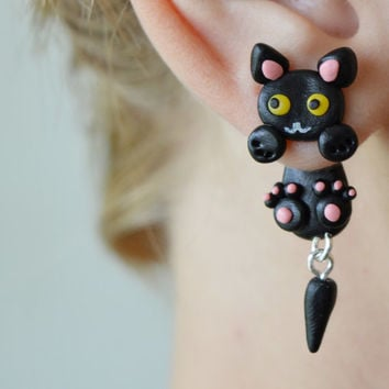 black cat earrings,cute kawaii earrings,double side earrings,two part earrings,anime earrings,halloween animal jewelry,dangling earrings