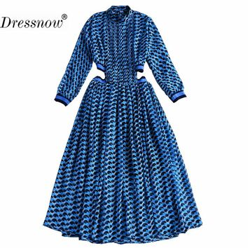 Women Designer Maxi Dress Ladies 3/4 Sleeve Geometric Printed Waist Hollow Out Holiday Casual Long Dresses Summer Chiffon Dress2