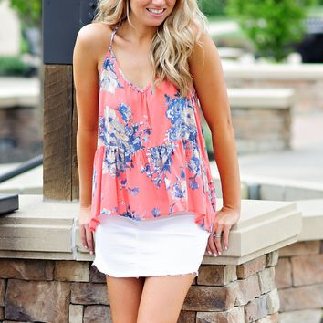 * Giovani Floral Tie Back Cami With High Low Flounce Hem : Coral