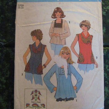 25% Off 1970's Simplicity Sewing Pattern, 7673! Size Large 16-18 Women's, Flare Shirts/ Hippie Blouses/Embroidery Transfer, Hippie Casual Ma