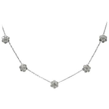 Van Cleef & Arpels Fleurette Five Diamond Flowers Large White Gold Necklace