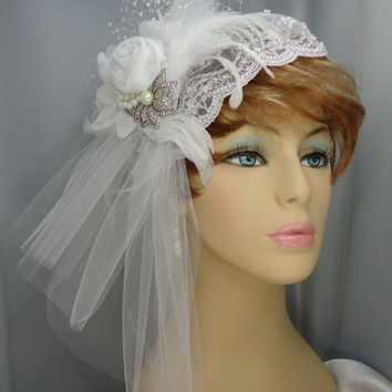 White Juliet Cap Double Tiered Veil Detachable Art Deco Fascinator and Marquis Cut Rhinestone Brooch Bridal Ensemble US Shipping included