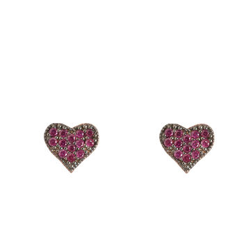 Love Earrings, Fuchsia Heart Stud Earrings, Silver Heart Earrings, Gift Earrings, Stud Sterling Silver ZB0228