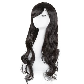 Light Blonde Wig Fei-Show Synthetic Heat Resistant Fiber Long Curly Inclined Bangs Hair Female Women Costume Cos-play Hairpiece