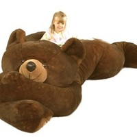 "Purr-Fection Jumbo Minky Brown Bear 90"" Plush"