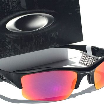 NEW* Oakley Flak Jacket POLARIZED ooRED Iridium Golf BLACK frame Sunglas oo9009