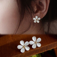 1 Pair New Fashion Elegant Girls Cute Solid White Cherry Flowers Ear Stud Earrings Jewelry = 1958373572