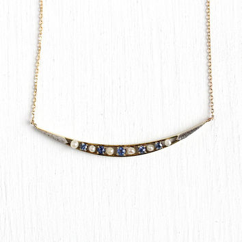 Crescent Moon Necklace - 14k Yellow White Gold Genuine Sapphires Pearl Conversion Necklace - Antique Edwardian Circa 1910 Celestial Jewelry