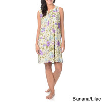 La Cera Women's Flower Print Nightgown Split Neck Pleated Placket