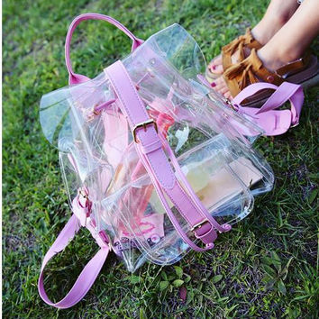 2017 Jelly Backpacks Bag Summer New Transparent Bags Korean Version Casual Female Shoulder Bag Clear Personalized DF473