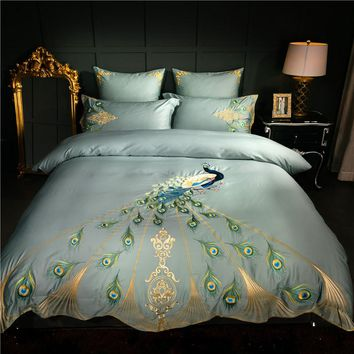 Chinese embroidery luxury Bedding set queen king size Duvet cover Bed sheet set 60S egyptian cotton silky fabric peacock pattern