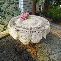 Handmade Crochet Tablecloth Hollow Tablecloth Weave Table Cover Home Decor Round Tablecloths JM0112
