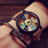Womens Mens Retro Leather Watch Gift 527