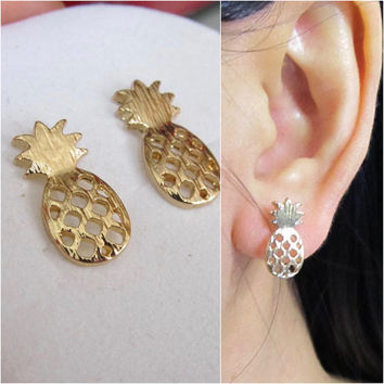Pineapple Clip on Earring, Non pierced earring, Gold Invisible clip on earring,C24s, Magnetic earring alternative, clip on stud earring