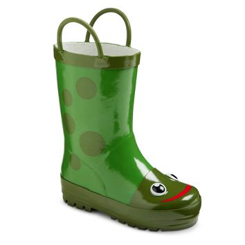 Toddler Kid's Frog Rain Boots in Green Size: 11/12