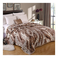 Leopard Print Thick Mink Cashmere Flannel Blanket Throw Gift Child Single Queen   180x200cm
