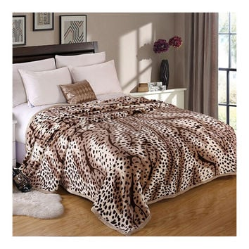 Leopard Print Thick Mink Cashmere Flannel Blanket Throw Gift Child Single Queen   200x230cm