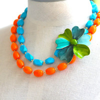 Vintage Teal Aqua Green Blue Multicolor Enamel Flower Neon Tangerine Orange Turquoise Glass Beads, Double Strand, Statement Bridal Necklace