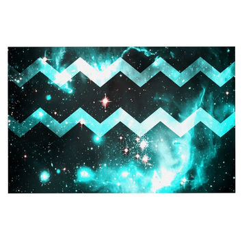 "Alveron ""Aqua Galaxy Chevron"" Decorative Door Mat"
