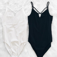 Cage Top Bodysuit (Black, White)