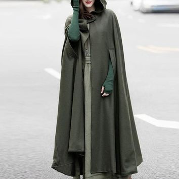 Trendy ZANZEA Autumn Cloak Hooded Coat Women Vintage Gothic Cape Poncho Coat Medieval Victorian Warm Long Open Stitch Jackets Plus Size AT_94_13