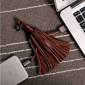 Tassel Lighting-to-USB Leather Tassel Keychain for iPhone 7 7Plus & iPhone se 5s 6 6 Plus and Samsung Android etc. +Gift Box