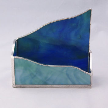 Stained Glass Business Card Holder--Blue Green Ocean Wave
