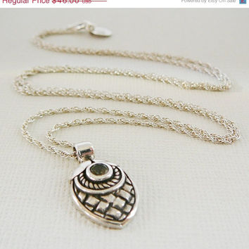"HoHoHo Sale Pendant Necklace, Acorn Sterling Silver 24"" Long Chain Charm Gemstone Jewelry"