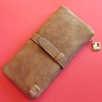 NEW Long Leather Wallet Card Holder - Brown