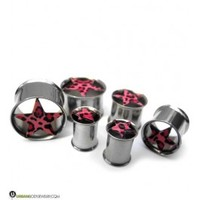"(0 Gauge - 5/8"") Stainless Steel Black Cross Tunnel Plugs 