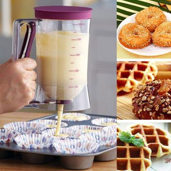 DIY Cupcake Pancake Cake Cream Mix Dispenser Funnel Measuring Cup Bakeware Kitchen Mold
