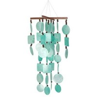 Woodstock Asli Arts Collection, Aqua Capiz Chime with Wood Beads