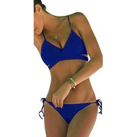 ThinkBest Women's Summer Sun Beach Swim Bandeau Triangle Push-Up Padded Bikini Suit