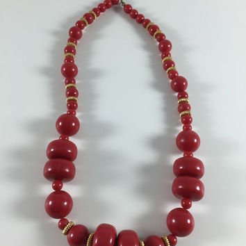 Vintage Retro Costume Jewelry Necklace Red And Gold Toned Chunky Beads Mod Necklace 1960's 1970's