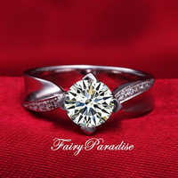 Art Deco 1 Ct (6.5 mm) Round Cut Lab Made Diamond Engagement Rings Promise Ring Anniversary Band, Twist Pave Band (FairyParadise)