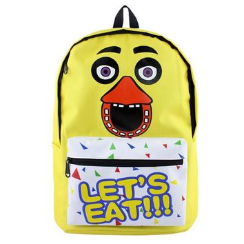 Yellow Anime Five Nights At Freddy's Backpack Freddy FNAF Nylon Backpacks Messenger School Bag Rucksack Students Bag Gift