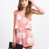 Tiered Woven Print Romper