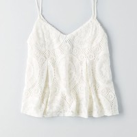 AEO Women's Lace Cami (Chalk)