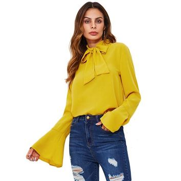 Shein Bow Tied Neck Blouse