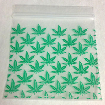 100 Green Printed Marijuana 2 x 2 (Small Plastic Baggies) 2020 Tiny Ziplock Bags