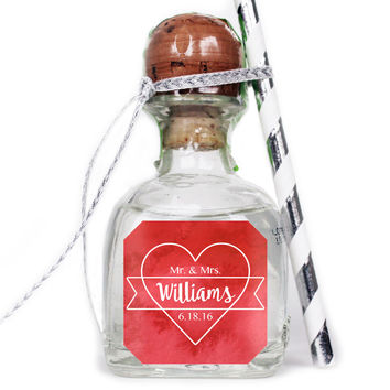 Watercolor Heart - Wedding Patron Mini Bottle Labels