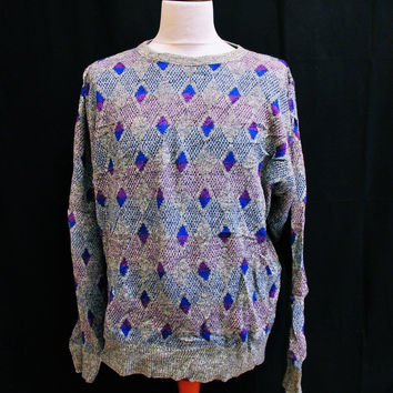 Vintage 1990s PSYCHEDELIC DIAMOND Sweater Jumper Large Crazy Indie Pattern