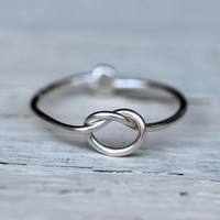 Infinity Ring : Tiny Delicate Silver Plated Wire Infinity Knot Ring, First Knuckle, Hand Bent, Friendship, Promise
