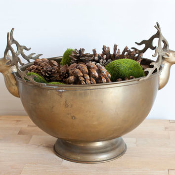 Large Solid Brass Stag Head Bowl, Buck Deer Shape Aged Metal Fruit Bowl, Rustic Cabin Decor