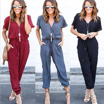 The new v-neck sexy cross strap conjoined jumpsuit