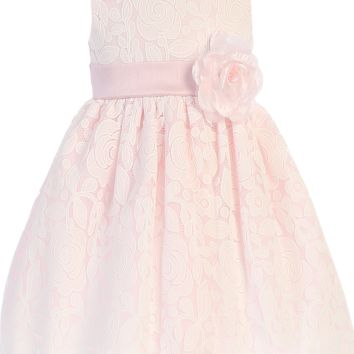 Pink & White Floral Lace Girls Easter Dress with Shantung Sash 6M-10
