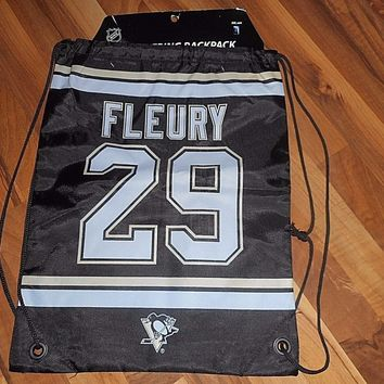 FLEURY Pittsburgh Penguins Back Pack/Sack Drawstring Bag/Tote NEW Hockey Goalie