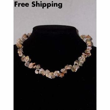 Vintage Hand Crafted Sea Shell Choker Necklace