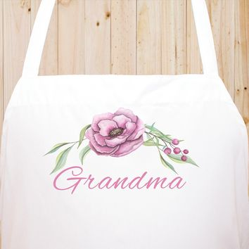 Custom Text Floral Flowers Chef Fun Kitchen Apron, BBQ Apron, Restaurant Apron Quality Cooks Clothing  FL17