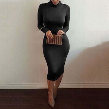 Solid Women Long Sleeve Bandage Turtleneck Bodycon Mid Calf Dress S/M/L/XL TQ
